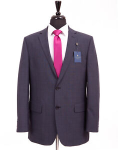 Alexandre Savile Row Suit Blue Regular Fit Prince Of Wales Check 44L W36 L31
