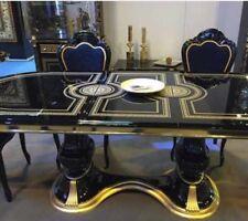 VERSACE ITALIAN HIGH GLOSS DINING EXTENDING TABLE & 8 MEDUSA HEAD FABRIC CHAIRS