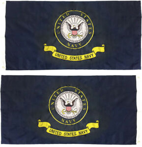 2x3 Embroidered U.S. Navy Emblem Crest 210D Nylon Double Sided Flag