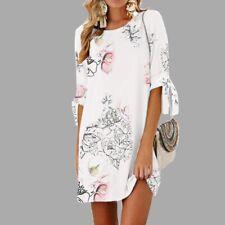 Women Ladies Floral Long Tops Blouse Summer Beach Tunic Boho Dress Plus Size New