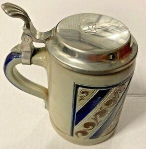 Great Vintage GOEBEL SALT GLAZED BEER STEIN Merkelbach Pewter Lid
