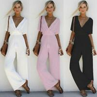 Hot Women V Neck Loose Playsuit Party Ladies Romper Short Sleeve Long Jumpsuit