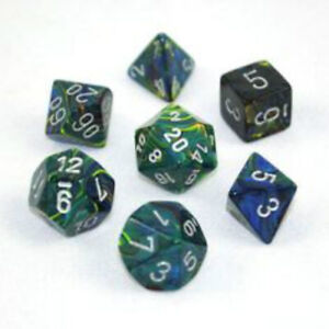 Green with Silver Festive Polyhedral 7-Die Set Chessex