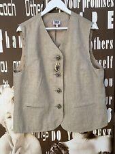 Ladies Vintage Waistcoat Beige 100% Linen Quirky Boho Large UK 14-16