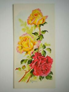 """VINTAGE """"ROSES"""" BLANK GREETING CARD ~ I. Schricker ~ Mouth Painter"""