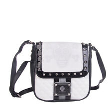 BROCH & BROCH Crossbody Bag Quilted Skull Print Studded Flap Closure RRP €215