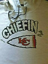 "KANSAS CITY CHIEFS ""CHIEFIN"" HOODIE SWEATSHIRT NEW (GRAY)  SIZES: M,L,XL,2X"