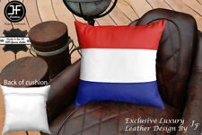 "NETHERLAND FLAG COLOUR LEATHER 1X EXCLUSIVE LUXURY CUSHION 18""x18"" WHITE BACK"