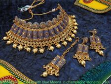 Indian Bollywood Style Meenakari Kundan Gold Plated Bridal Jewelry Necklace Set