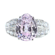 LUXURIOUS 5.4 CT PINK KUNZITE & SAPPHIRE PEAR STERLING SILVER 925 RING SIZE 7.25