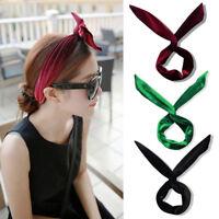 Cute Women Girl Bow Rabbit Ear Hair Band Wire Wrap Headband Headwear Gift Decor