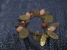 Wonderful bronze tone metal chain bracelet with leaf decoration & beads