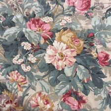 Kaufmann Beige Pink Green Floral Interior Decorating Fabric Shabby Chic BTY