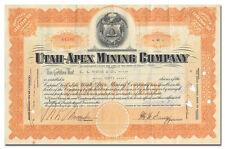 Utah-Apex Mi 00004000 ning Company Stock Certificate