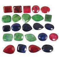 24 Pcs Natural Emerald Ruby Blue Sapphire Gemstones Wholesale Lot 14mm-25.5mm