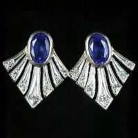 SAPPHIRE DIAMOND FAN EARRINGS 9CT GOLD