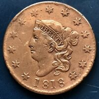 1818 Large Cent Coronet Head One Cent 1c Better Grade XF - AU Details #9068