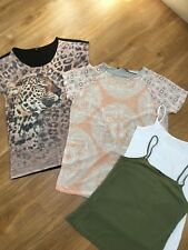 DESIGNER PRIMARK F&F LEOPARD T TEE SHIRT VEST TOP 4 ITEM SUMMER BUNDLE 12 40