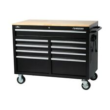 Husky 46 in. 9-Drawer Mobile Workbench in Black with Six Outlets two USB Ports