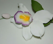 Pearly Orchid Sugar Spray, Sugar Flower,  Cake Topper, Gum, Sugar Paste