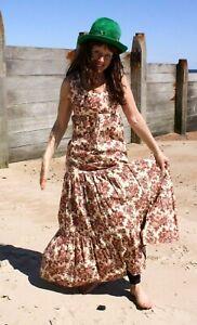 Lovely cool cotton VINTAGE 70's, sleeveless maxi dress, JUSTIN Debenhams size 10