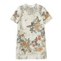 H&M Conscious Exclusive Embroidered Beaded Mini Dress Silk Floral Gems XS White