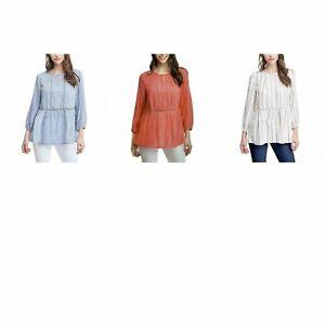 NWT! Fever Ladies' 3/4 Sleeve Blouse Crochet Trim Detail Textured 1387749