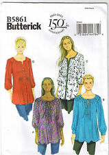 Womens Tunic Tops Front Tucks Trim Butterick Sewing Pattern Plus 18 20 22 24