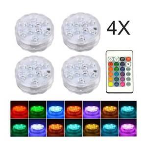 4x Remote Control RGB 16 Colour Changing Underwater Pond Aqua Mood LED Lights