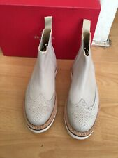 Grenson Alistair Beige Leather V Wing Tip Chelsea Boot Uk 7.5, RRP£250