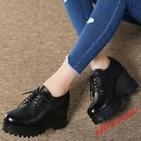 Women's Black High Wedge Heels Round Toe Lace Up Platform Shoes PU Leather Pumps