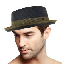 Men's Everyday 2tone Light Summer Porkpie Boater Derby Fedora Sun Hat