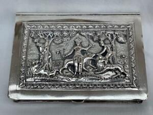 Outstanding Edwardian Indian Bombay Silver Profusely Decorated Cigarette Case.