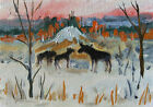 ACEO  Autumn Landscape  Moose Original Oil painting Miniature Art 2.5x3.5in MK