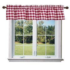 lovemyfabric Gingham Checkered Plaid Design Kitchen Curtain Valance-Red