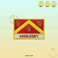 ANGLESEY County Flag With Name Embroidered Iron On Sew On Patch Badge