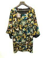 INC Anna Sui 1X NWT Black Blue Red Floral Dress 3/4 Flare Sleeve Sheath Knee NEW