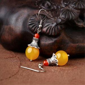 Natural Yellow chalcedony Earrings Tibet silver Dangle Ms gift Women