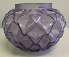 LALIQUE CRYSTAL LANGUEDOC PURPLE violet VASE cactus leaves  BOWL MINT IN BOX
