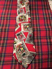 Christmas Tie Carolers Wreath Santa Dillard's 100% Silk USA