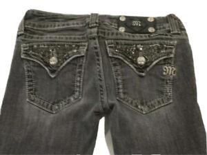 Miss Me JP5023-5 Boot 27 x 31 Gray Rhinestones Stretch Women's Jeans