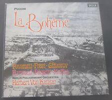 Puccini : La Boheme  Pavarotti , Freni , Karajan  DECCA SET 565-6 2 LP BOX EX