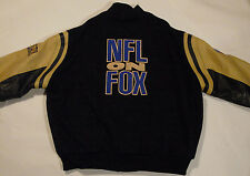 NFL ON FOX FOOTBALL VARSITY JACKET! WOOL WITH REAL EATHER SLEVES! MADE IN USA! L