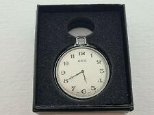 Vintage 1955 Oris Swiss Made Chrome Slim Pocket Watch  Working Gift Box Rare