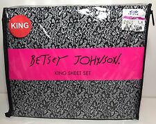 Betsey Johnson 4pc KING Sheet Set Black White Lace Print - New
