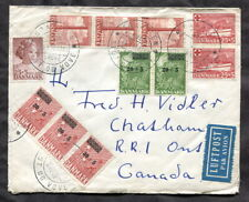 p312 - DENMARK 1956 Airmail Cover to CANADA, many Semi-Postal Issues
