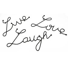 "Black Metal Wall Art ""LIVE LOVE LAUGH"" Set of 3 Wall Art Home Bedroom Decoration"