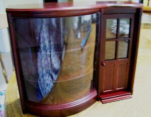 NIP Cherry wood Dollhouse EMPORIUM 1:12 storefront shop door 3 shelf display 8x9