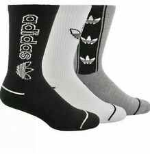 Adidas, Originals Mens 3pk, Black, Gray & White Crew Socks, 6-12, 1.99 Shipping