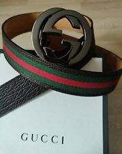 Authentic Gucci 114984 GG Leather / Canvas Belt WEB